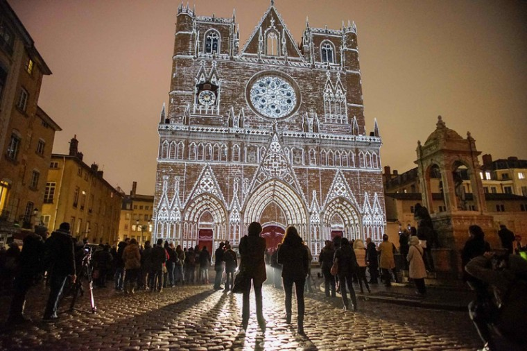 View of Color or Not installation by artist Yves Moreaux at the Saint-Jean Cathedral during the rehearsal for the Festival of Lights in central Lyon late in the night December 4, 2014. The Festival of Lights (Fetes des Lumieres), with designers from all over the world, is one of Lyon's most famous festivals. (Robert Pratta/REUTERS)