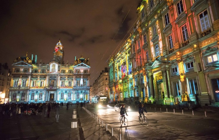 View of Le Prince des Lumieres installation by artist Damien Fontaine during the rehearsal for the Festival of Lights in central Lyon late in the night December 5, 2013. (Robert Pratta/REUTERS)