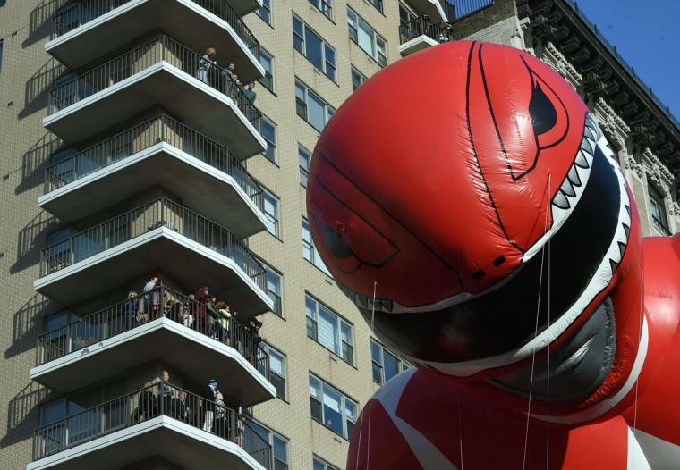 The Power ranger balloon floats pass spectators during the 89th Annual Macy's Thanksgiving Day Parade on November 26, 2015 in New York City. (TIMOTHY A. CLARY/AFP/Getty Images)