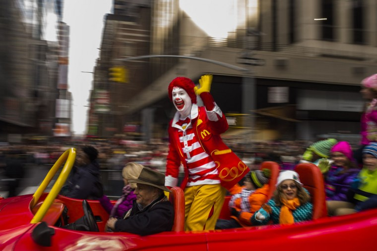 Ronald McDonald waves to the crowd during the Macy's Thanksgiving Day Parade, Thursday, Nov. 26, 2015, in New York. (AP PhotoRonald McDonald waves to the crowd during the Macy's Thanksgiving Day Parade, Thursday, Nov. 26, 2015, in New York. (AP Photo/Andres Kudacki) /Andres Kudacki)