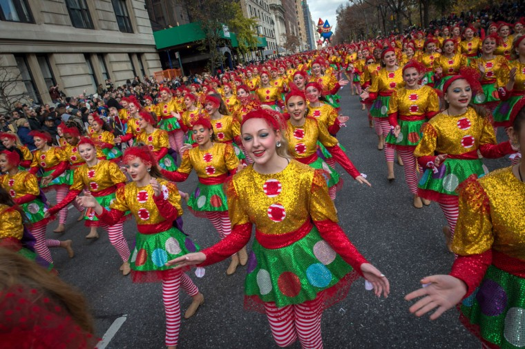 Dancers move down Central Park West during the Macy's Thanksgiving Day Parade, Thursday, Nov. 26, 2015 in New York. (AP Photo/Bryan R. Smith)