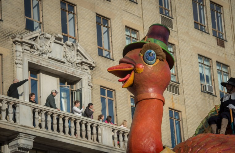 A float moves past spectators along Central Park West during the Macy's Thanksgiving Day Parade, Thursday, Nov. 26, 2015, in New York. (AP Photo/Bryan R. Smith)