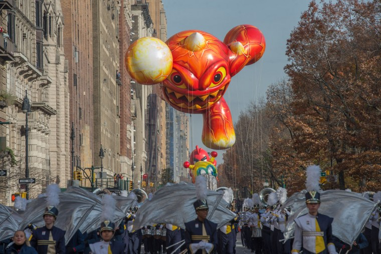 The balloon Skylanders' Eruptor is moved down Central Park West during the Macy's Thanksgiving Day Parade, Thursday, Nov. 26, 2015 in New York. (AP Photo/Bryan R. Smith)