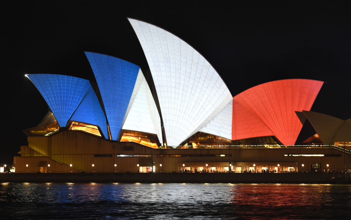 Solidarity with France: Red, white and blue buildings around the world