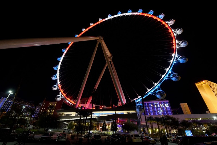 The High Roller at The LINQ Promenade on the Las Vegas Strip is lit up with the blue, white and red colors of the French flag in a show of solidarity with France on November 13, 2015 in Las Vegas. (Photo by Ethan Miller/Getty Images)