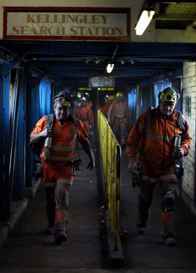 KNOTTINGLEY, ENGLAND - DECEMBER 18: Miners react after their last shift at Kellingley Colliery on December 18, 2015 in Knottingley, England. Kellingley began production in 1965 and is the UK's last deep coal mine. Its closure will complete a carefully managed two-year plan for the UKs deep mines. This has been implemented by UK Coal with financial support from the British government. It follows a long period of difficult trading conditions largely due to low international coal prices.||Photo by Nigel Roddis - Getty Images