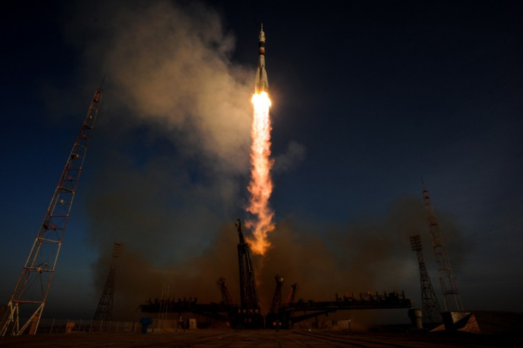 Russia's Soyuz TMA-19M spacecraft carrying the International Space Station Expedition 46/47 crew of British astronaut Tim Peake, Russian cosmonaut Yuri Malenchenko and U.S. astronaut Tim Kopra blasts off from the launch pad at the Russian-leased Baikonur cosmodrome on Tuesday. (KIRILL KUDRYAVTSEV/AFP/Getty Images)