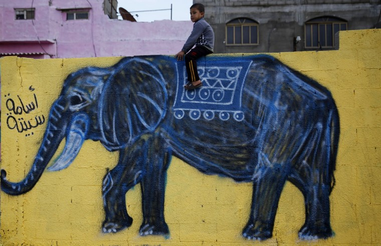"In this Tuesday, Dec. 15, 2015 photo, a Palestinian boy sits atop a wall with an elephant painting in the Shati refugee camp in Gaza City. A group of two dozen artists has painted the walls, doorsteps and facades of all the houses along a one-mile-long (1.5 kilometer-long) edge of the camp, including in the area where Hamas chief Ismail Haniya lives. Arabic at left reads: ""Osama Sabeeta."" (AP Photo/Hatem Moussa)"