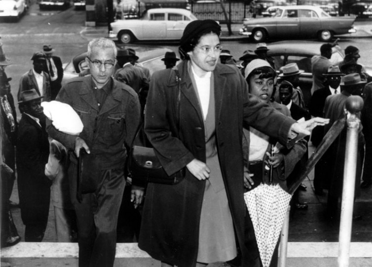 In this Feb. 24, 1956, file photo, Rosa Parks arrives at circuit court to be arraigned. (AP file photo)
