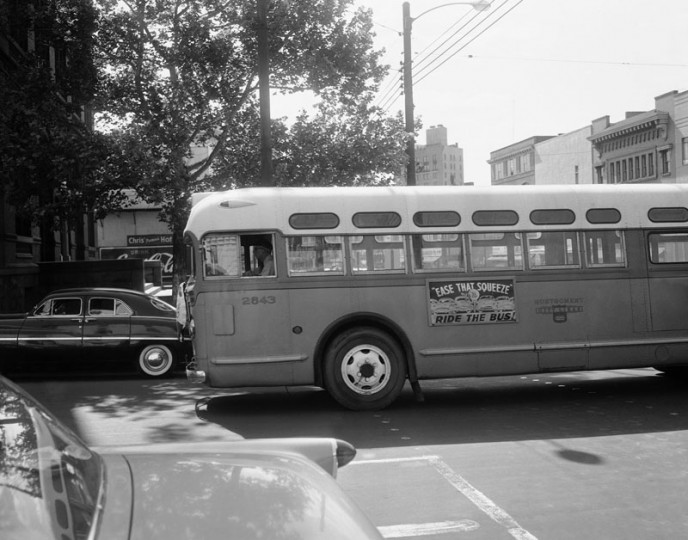 In this April 26, 1956, file photo, a bus driver is all alone as his empty bus moves through downtown Montgomery, Ala, as a boycott continues even though the bus company has ordered an end to segregation. (Horace Cort/AP file photo)