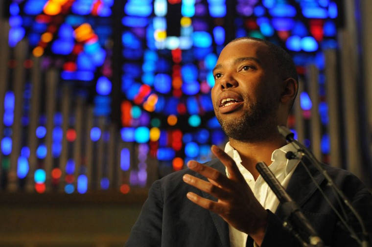 "Author Ta-Nehisi Coates speaks to an audience at Union Baptist Church. His new book is ""Between the World and Me."" Toni Morrison has anointed as the intellectual successor to James Baldwin. His essay last year, ""The Case for Reparations"" won a Polk Award. (Algerina Perna, Baltimore Sun)"