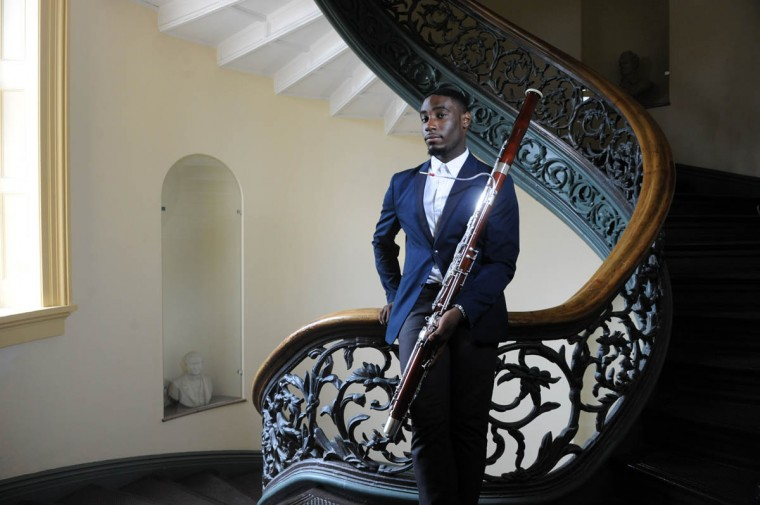 Bassoonist Mateen Milan, 17, Cedonia, is photographed at the Peabody Conservatory where he will study. (Kim Hairston/ Baltimore Sun)