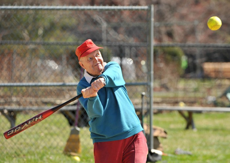 Al Blackburn, 88, had no trouble connecting with the ball during batting practice. Seven seniors participated in the first practice for the Charlestown Sluggers softball team, at the Charlestown Retirement Community. (Amy Davis, Baltimore Sun)