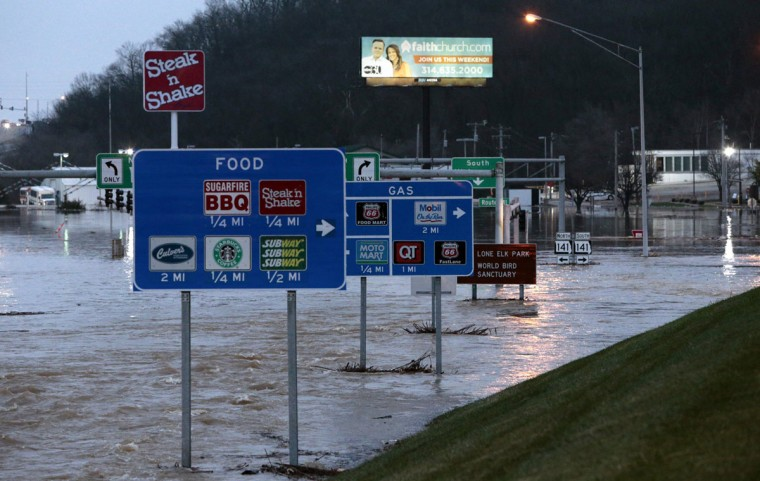 Water flows off the Interstate 44 exit ramp at Hwy 141 on Wednesday, Dec. 30, 2015 in Fenton, Mo. (Robert Cohen/St. Louis Post-Dispatch/TNS)