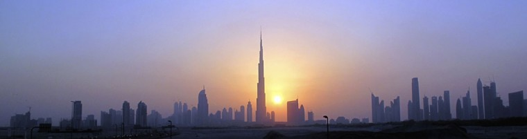 The Burj Khalifa skyscraper is seen as the sun sets over Dubai October 5, 2010. (REUTERS/Mosab Omar)