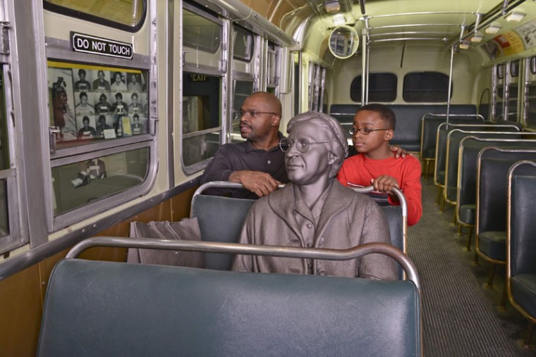 A statue of Rosa Parks who refused to give up her seat to a white man on a bus, sparking the Montgomery Bus Boycott, is shown in this image released to Reuters on April 4, 2014, courtesy of The National Civil Rights Museum. (REUTERS/The National Civil Rights Museum/Handout)