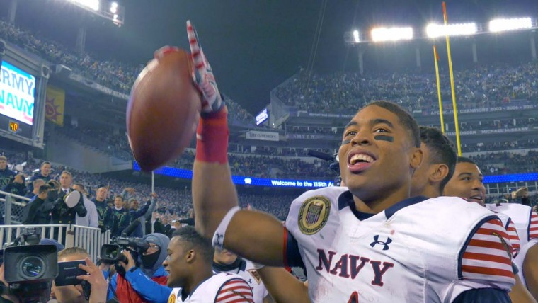 Navy Midshipmen wide receiver Jamir Tillman points to fans during the 115th Annual Army Navy game Saturday, Dec 13, 2014. The Midshipmen sank the Black Knights, 17-10. (Karl Merton Ferron / Baltimore Sun)