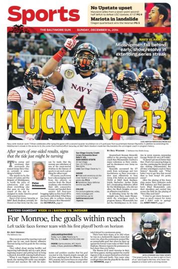 The Baltimore Sun's Sports cover for Dec. 14, 2014.