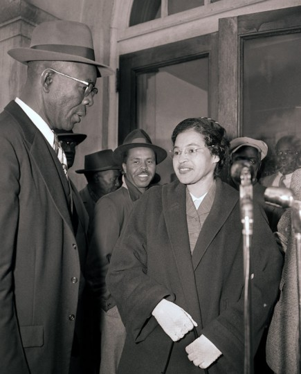 Rosa Parks and E.D. Nixon, former president of the Alabama NAACP, arrive at court in Montgomery on March 19, 1956. Parks was fined $14 on Dec. 5, 1955, for failing to move to the back of a city bus. The boycott started on the day she was fined. There were 91 other defendants. (Gene Herrick/AP)