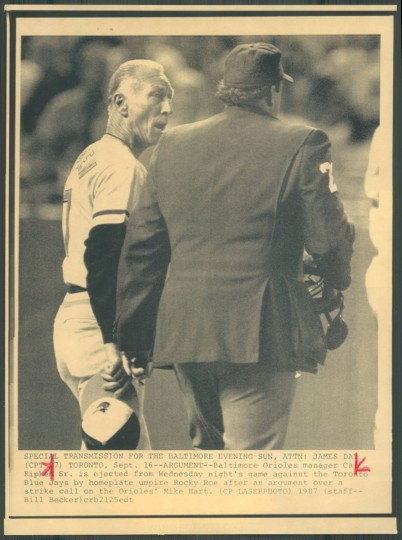 Cal Ripken Sr. is ejected from a game on Sept. 17, 1987. (Baltimore Sun photo by Bill Becker)