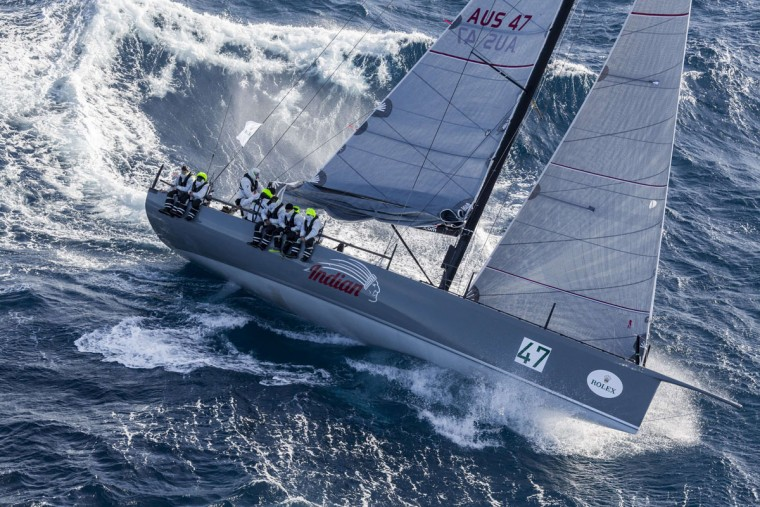 This handout photo from taken and released on December 27, 2015 by Rolex shows the Carkeek 47 yacht Indian competing in the Sydney to Hobart yacht race. Strong winds knocked out more Sydney to Hobart competitors on December 27, joining eight-time line honours winners Wild Oats XI, as sailors battled wild weather off Australia's east coast, officials said. (STEFANO GATTINI/AFP/Getty Images)