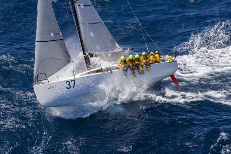 This handout photo from Rolex, shows Courrier Leon of France competing in the Sydney to Hobart yacht race on December 27, 2015. (STEFANO GATTINI/AFP/Getty Images)