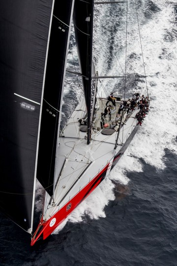 This handout photo from Rolex taken on December 26, 2015 shows US supermaxi yacht Comanche during the Sydney to Hobart yacht race off the coast of Australia. (STEFANO GATTINI/AFP/Getty Images)