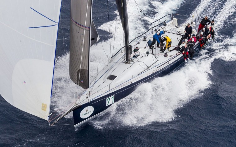 This handout photo from Rolex taken on December 26, 2015 shows Farr Type 52 yacht Balance during the Sydney to Hobart yacht race. (STEFANO GATTINI/AFP/Getty Images)