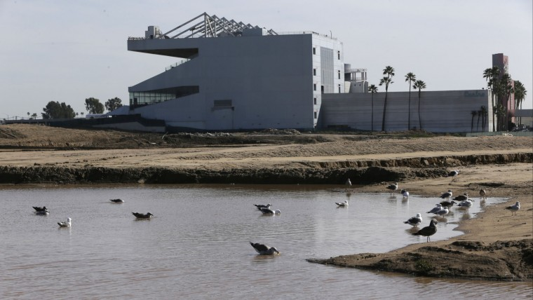 The Hollywood Park Casino stands on the grounds of the former Hollywood Park horse-racing track in Inglewood, Calif., on Wednesday, Jan. 13, 2016. League owners voted Tuesday to allow the St. Louis Rams to move to Los Angeles starting next season. A new stadium for the team is expected to be completed in 2019. (AP Photo/Damian Dovarganes)