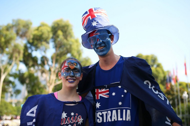 Tennis fans show their support on Australia Day during day nine of the 2016 Australian Open at Melbourne Park on January 26, 2016 in Melbourne, Australia. (Graham Denholm/Getty Images)