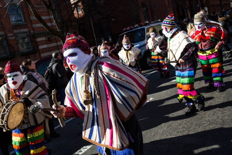 Performers march in the annual Three Kings Day Parade on January 6, 2016 in the Spanish Harlem neighborhood of the Manhattan borough of New York City. The parade is organized by El Museo del Barrio and is in it's 39th year. (Photo by Andrew Burton/Getty Images)