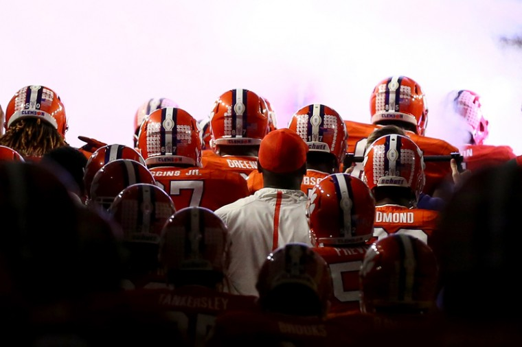 The Clemson Tigers prepare to take the field prior to the 2016 College Football Playoff National Championship Game against the Alabama Crimson Tide at University of Phoenix Stadium on Monday in Glendale, Arizona. (Ronald Martinez/Getty Images)