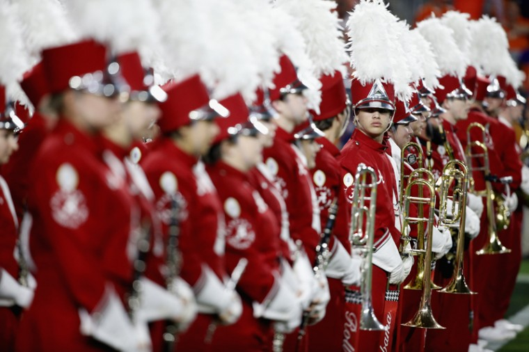 The Alabama Crimson Tide marching band looks on during the 2016 College Football Playoff National Championship Game against the Clemson Tigers at University of Phoenix Stadium on Monday in Glendale, Arizona.  (Sean M. Haffey/Getty Images)