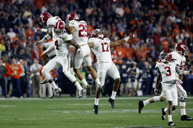Eddie Jackson of the Alabama Crimson Tide celebrates with his teammates after a play against the Clemson Tigers during the 2016 College Football Playoff National Championship Game at University of Phoenix Stadium. (Sean M. Haffey/Getty Images)