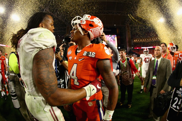 Derrick Henry of the Alabama Crimson Tide shakes hands with Deshaun Watson of the Clemson Tigers after the 2016 College Football Playoff National Championship Game at University of Phoenix Stadium on Monday in Glendale, Arizona.  The Crimson Tide defeated the Tigers with 45-40. (Ronald Martinez/Getty Images)