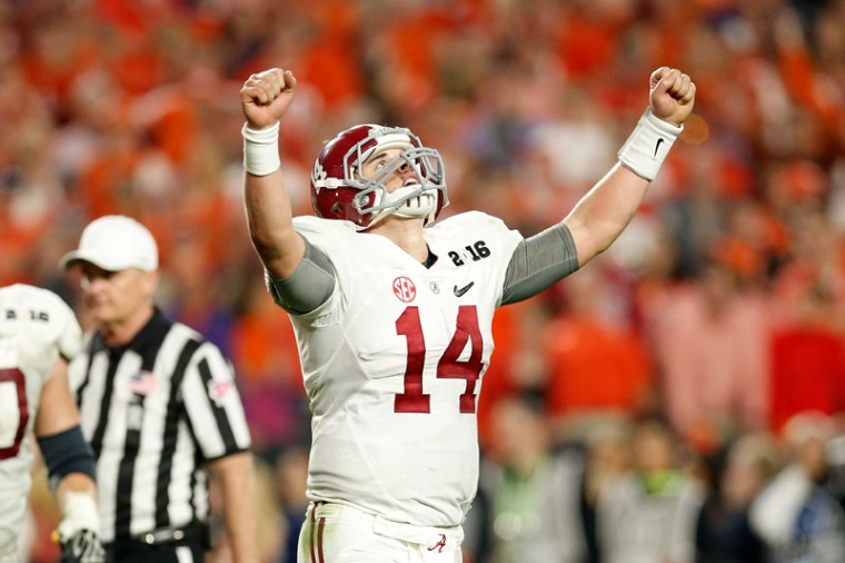 Jake Coker of the Alabama Crimson Tide celebrates after Derrick Henry scored a one-yard touchdown in the fourth quarter against the Clemson Tigers during the 2016 College Football Playoff National Championship Game. (Christian Petersen/Getty Images)