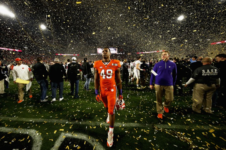 Richard Yeargin of the Clemson Tigers reacts after being defeated by the Alabama Crimson Tide 45-40 in the 2016 College Football Playoff National Championship Game. (Sean M. Haffey/Getty Images)