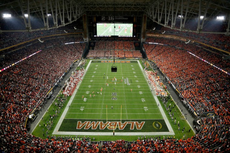 A general view of the Alabama Crimson Tide playing the Clemson Tigers during the 2016 College Football Playoff National Championship Game at University of Phoenix Stadium on Monday in Glendale, Arizona.  (Christian Petersen/Getty Images)