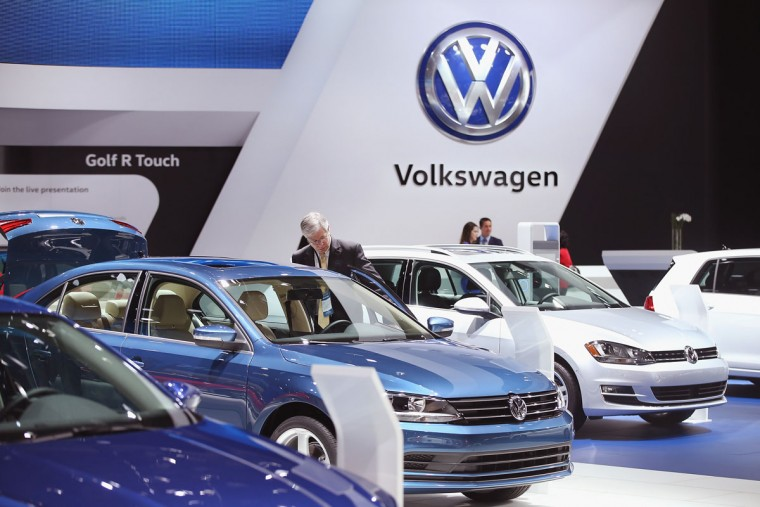 Volkswagen shows off their car lineup at the North American International Auto Show on January 12, 2016 in Detroit, Michigan. The show is open to the public from January 16-24. (Photo by Scott Olson/Getty Images)