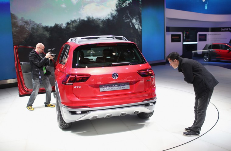 Volkswagen shows off their Tiguan GTE Active concept at the North American International Auto Show on January 12, 2016 in Detroit, Michigan. The show is open to the public from January 16-24. (Photo by Scott Olson/Getty Images)