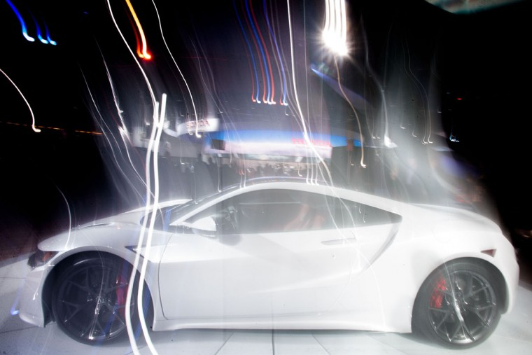 An Acura NSX is photographed with a long exposure as it rotates on a turntable at the company's display at the 2016 North American International Auto Show in Detroit, Michigan. (GEOFF ROBINS/AFP/Getty Images)