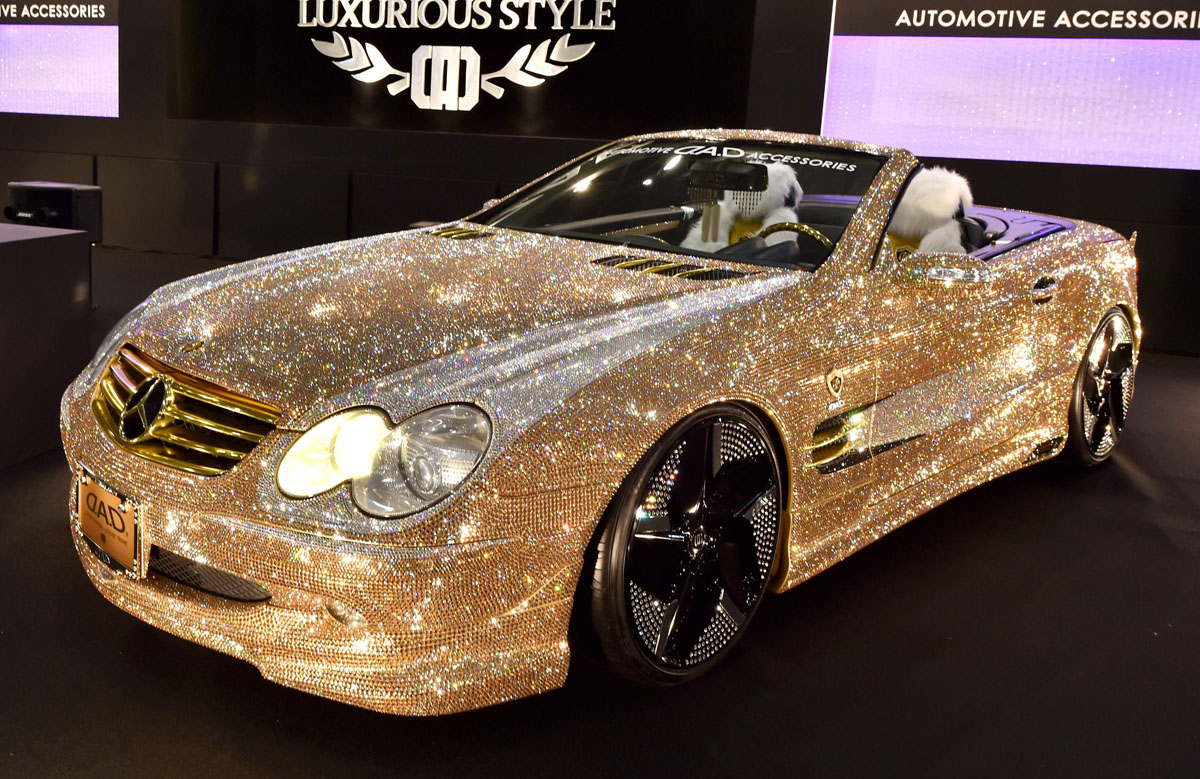 Japanu0027s Car Accessory Company Garson Displays The Demo Car Luxury Crystal  Benz, The Mercedes Benz SL600 With Swarovski Crystals On The Whole Body, ...