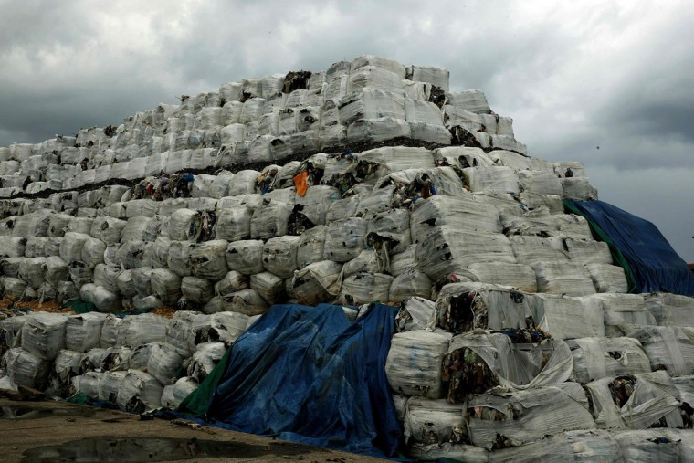 A picture taken on January 19, 2016 shows piles of packed garbage at the port of the Lebanese capital Beirut. (JOSEPH EID/AFP/Getty Images)