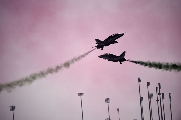 Saudi Hawks display team perform during the opening of the Bahrain International Airshow 2016, in Sakhir, south of the capital Manama, on January 21, 2016. (MOHAMMED AL-SHAIKH/AFP/Getty Images)
