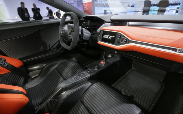 The interior of the Ford GT supercar is photographed at the North American International Auto Show, Tuesday, Jan. 12, 2016 in Detroit. (AP Photo/Carlos Osorio)