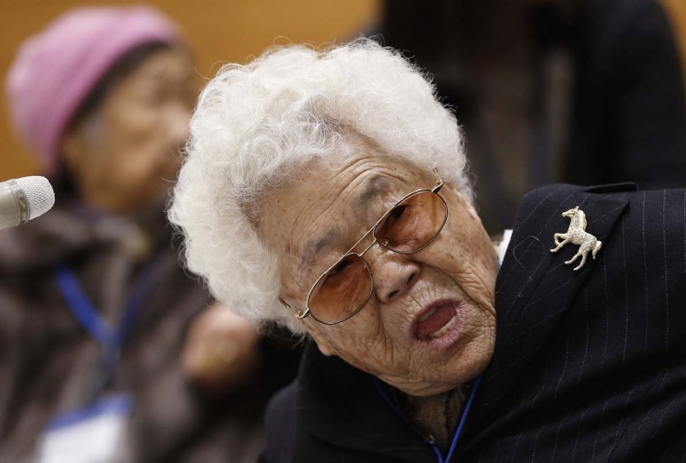 Lee Ok-sun, a South Korean woman abused by Japan's wartime military-run brothel system, speaks during a press conference in Tokyo, Tuesday, Jan. 26, 2016. Two elderly South Korean women, Lee and Kang Il Chul, left, are in Japan to reject a recent settlement agreement between the two governments and demand that Prime Minister Shinzo Abe give them a face-to-face apology and formal compensation.  || CREDIT: SHIZUO KAMBAYASHI - AP PHOTO