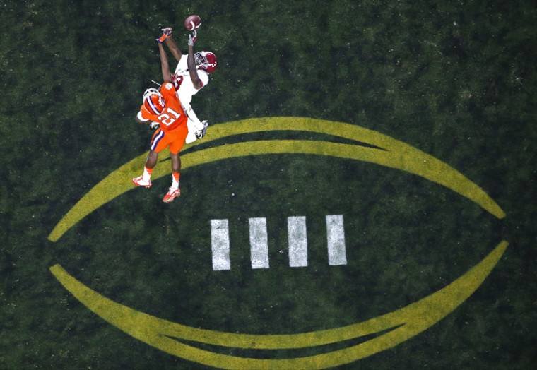 Clemson's Adrian Baker breaks up a pass intended for Alabama's Calvin Ridley. (Ross D. Franklin/AP)