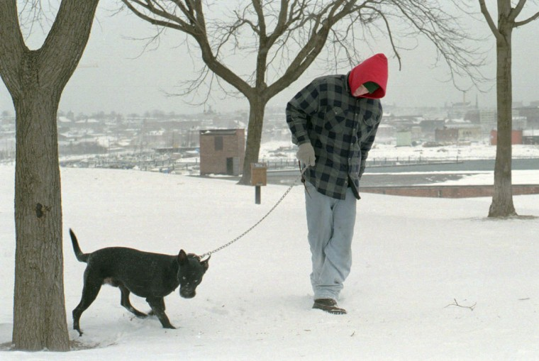 "Patrick Frazier walks his dog, ""Buster"", in Federal Hill. He lives across the street from the park. (Algerina Perna/Baltimore Sun)"