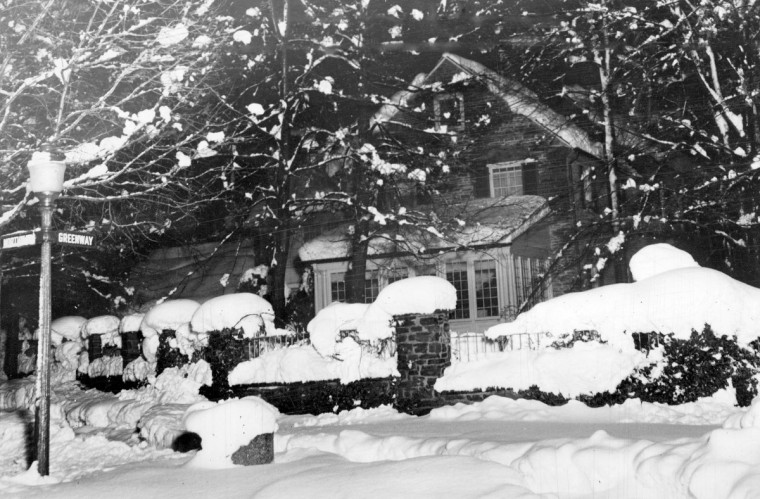 March went out like a Lion in 1942 when a Palm Sunday Blizzard dumped 22 inches of snow in the city  This photo was taken at Northway and Greenway in Guilford Neighborhood. (Baltimore Sun)