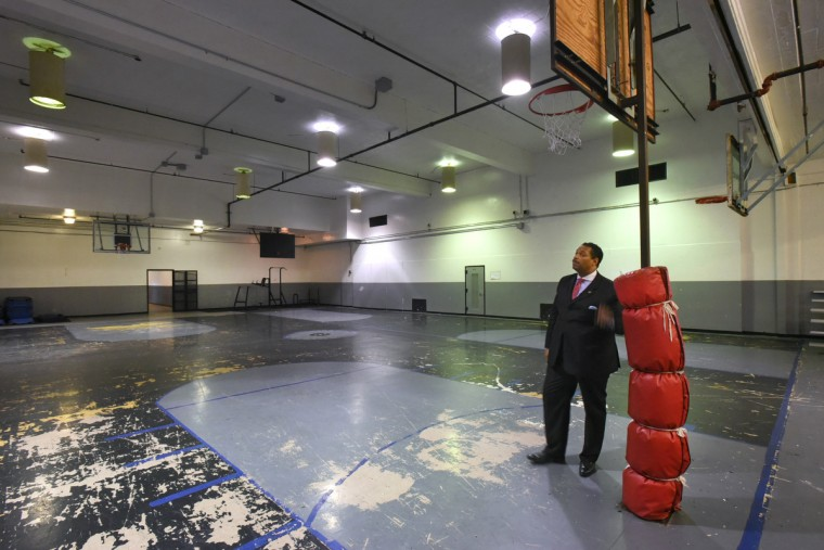 Public information officer Lt. Melvin Easley, a former guard at the Mens Detention Center, surveys the old gym where inmates could exercise for one hour a day unless they were restricted. (Amy Davis/Baltimore Sun)